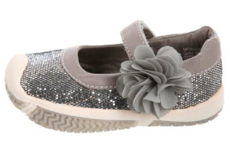 Morgan & Milo Infant Sparkle Mary Jane Charcoal Grey